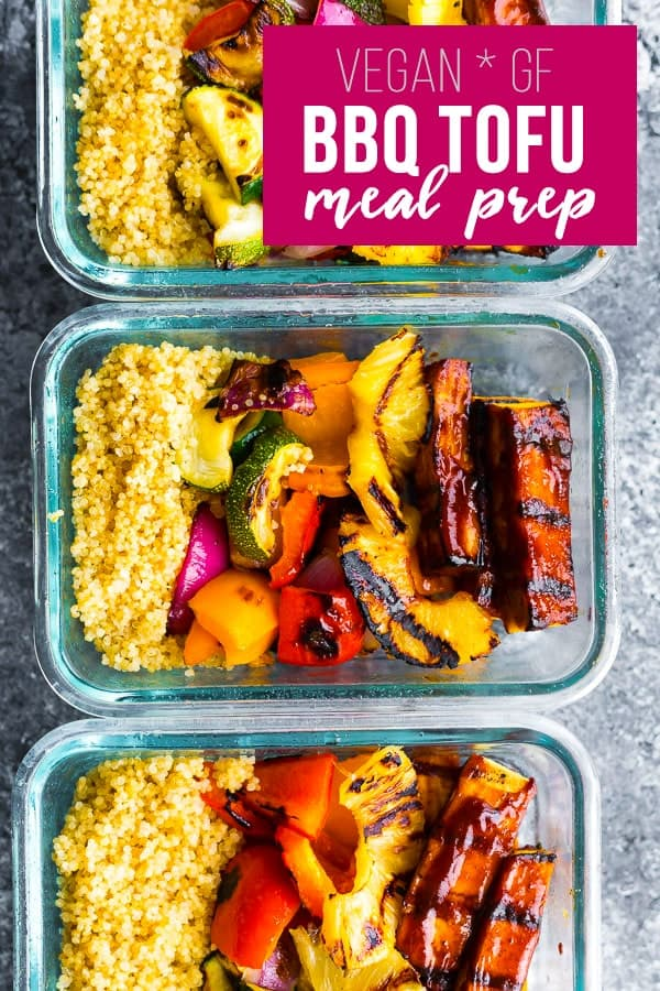 Pineapple BBQ Tofu Bowls are a vegan meal prep option that you can cook on the grill! Sweet, tangy, and a healthy lunch to stock up your fridge. #sweetpeasandsaffron #vegan #mealprep #tofu #grill #bbq #glutenfree #lowcal #lunch