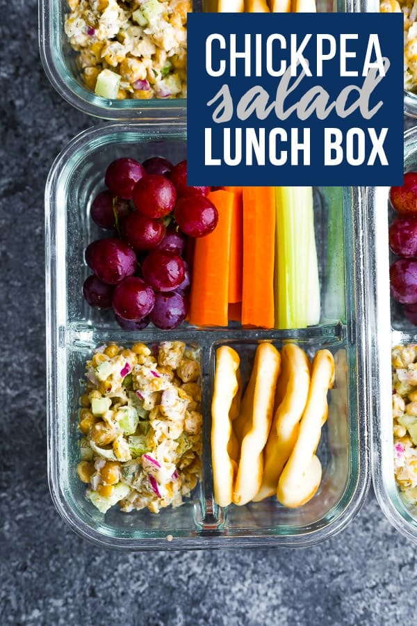Chickpea salad bento box is a vegan no cook lunch option that can be ready in under 25 minutes!  #sweetpeasandsaffron #lunch #mealprep #bento #nocook #vegan #lunchbox