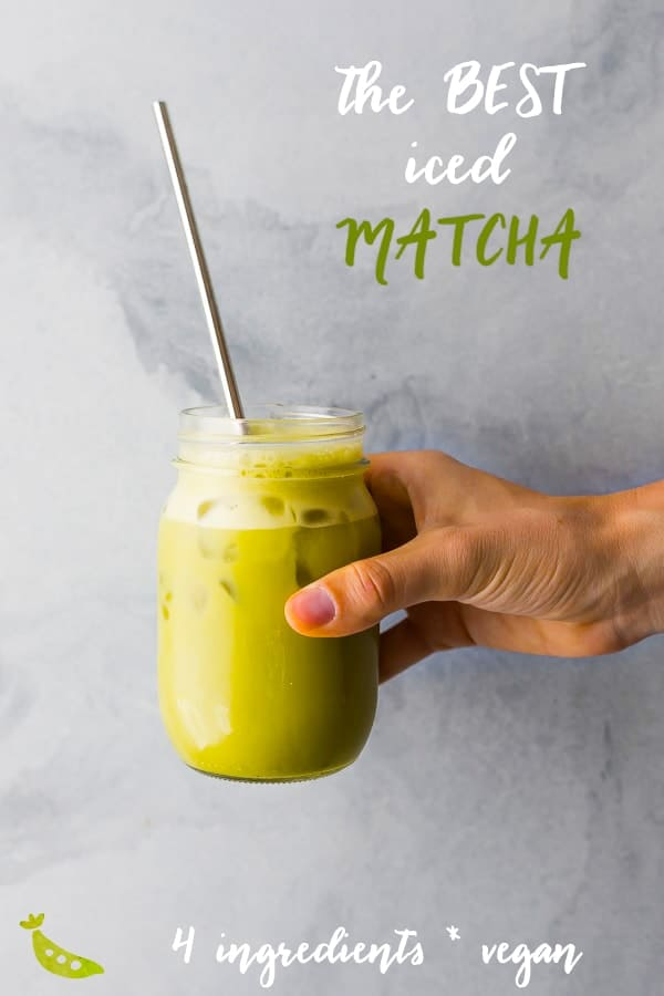 This iced matcha latte recipe is a simple, four ingredient recipe that is perfect for a summer afternoon pick-me-up! Vegan and refined sugar-free. #sweetpeasandsaffron #matcha #latte #starbucks #drink #zen