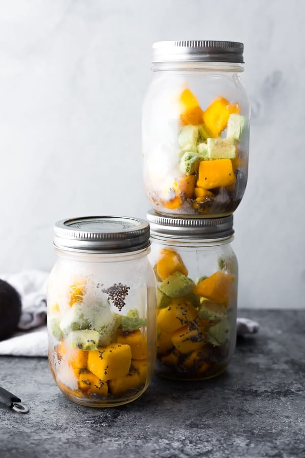 mango matcha smoothies in mason jar frozen smoothie packs