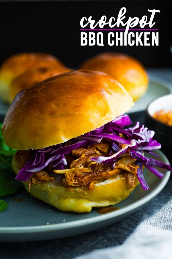 This easy crockpot bbq chicken makes the most delicious, juicy pulled chicken...perfect for sandwiches, tacos, wraps, and pizza! Just 5 simple ingredients and freezer crockpot compatible! #sweetpeasandsaffron #slowcooker #crockpot #bbq #chicken #chickenbreast #freezer #freezerslowcooker #freezercrockpot #mealprep