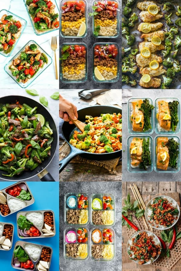 collage image with nine quick meals for meal prep