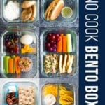 collage image of meal prep containers with text saying 7 no cook lunch box recipes