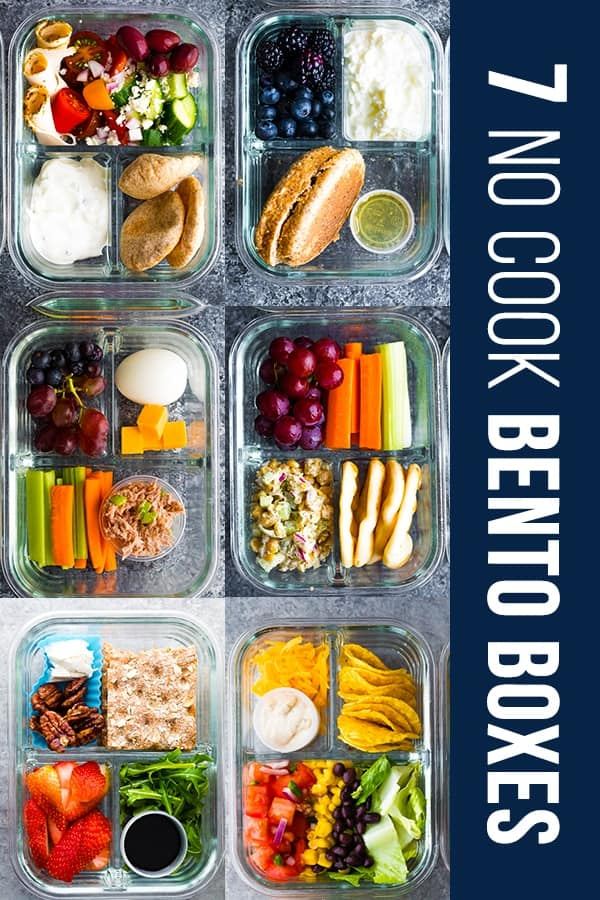 collage image showing 6 of the 7 no cook lunch box recipes