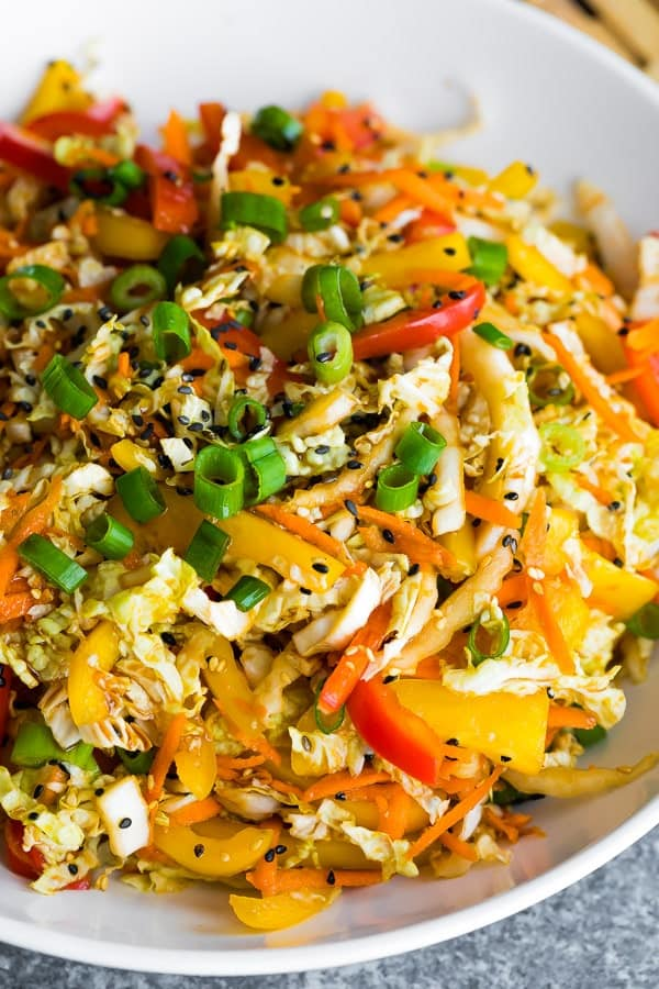 close up view of the asian slaw recipe with asian slaw dressing