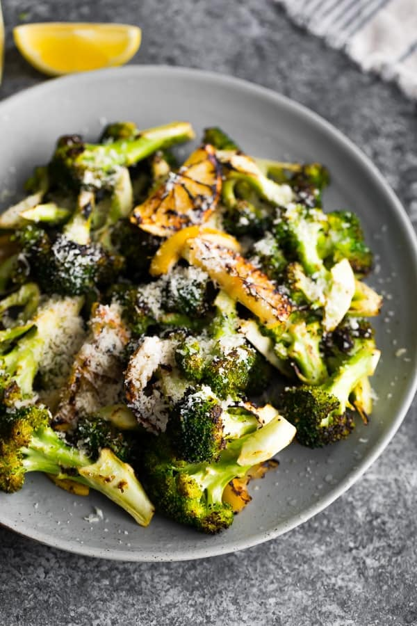 side view of plate with grilled broccoli recipe
