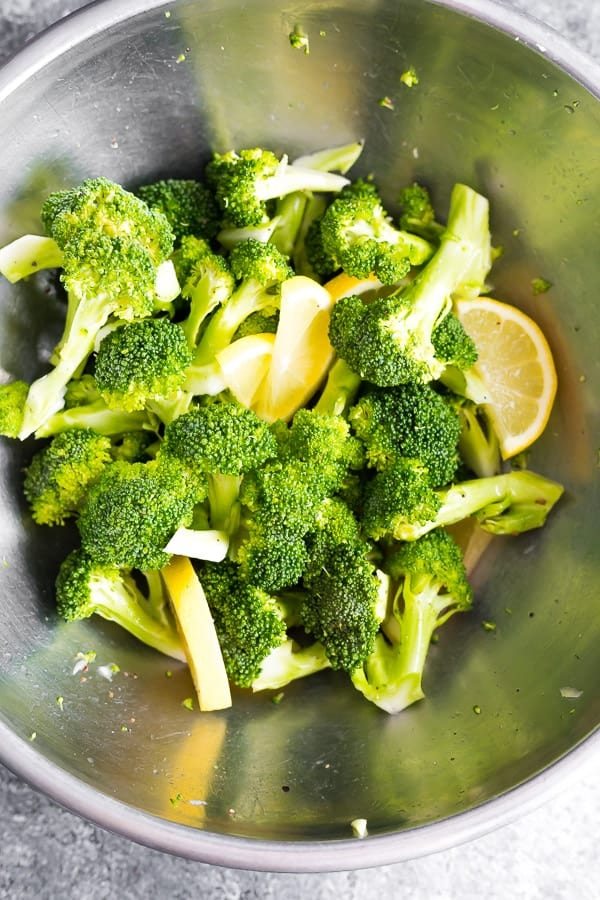 bowl with ingredients for grilling broccoli
