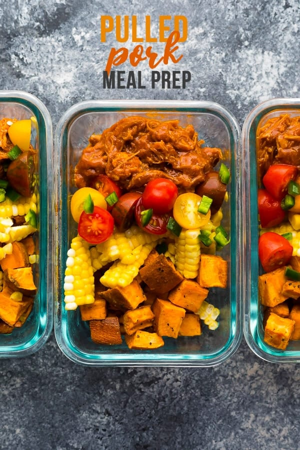 Pulled pork meal prep bowls have spicy Instant Pot pulled pork, roasted sweet potatoes, corn and tomatoes! Gluten-free, paleo, and perfect for lunches. #sweetpeasandsaffron #mealprep #instantpot #slowcooker #pork #lunch #cleaneating #paleo #glutenfree