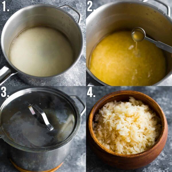 collage showing how to cook rice (4 steps)