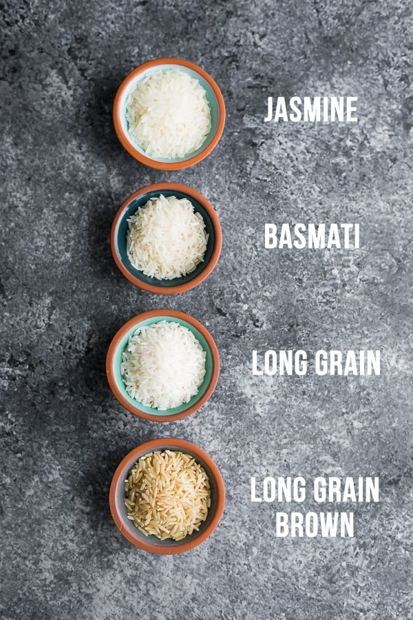 overhead shot of jasmine, basmati, long grain and long grain brown rice