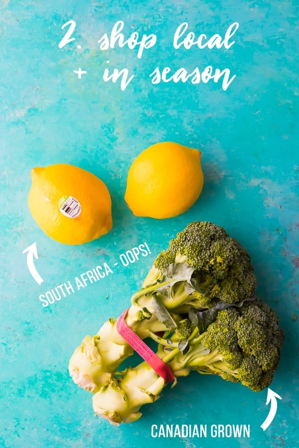 overhead shot of two lemons and broccoli with text shop local and in season