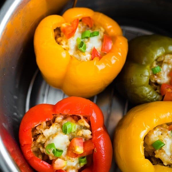 overhead shot of ground turkey stuffed peppers in instant pot