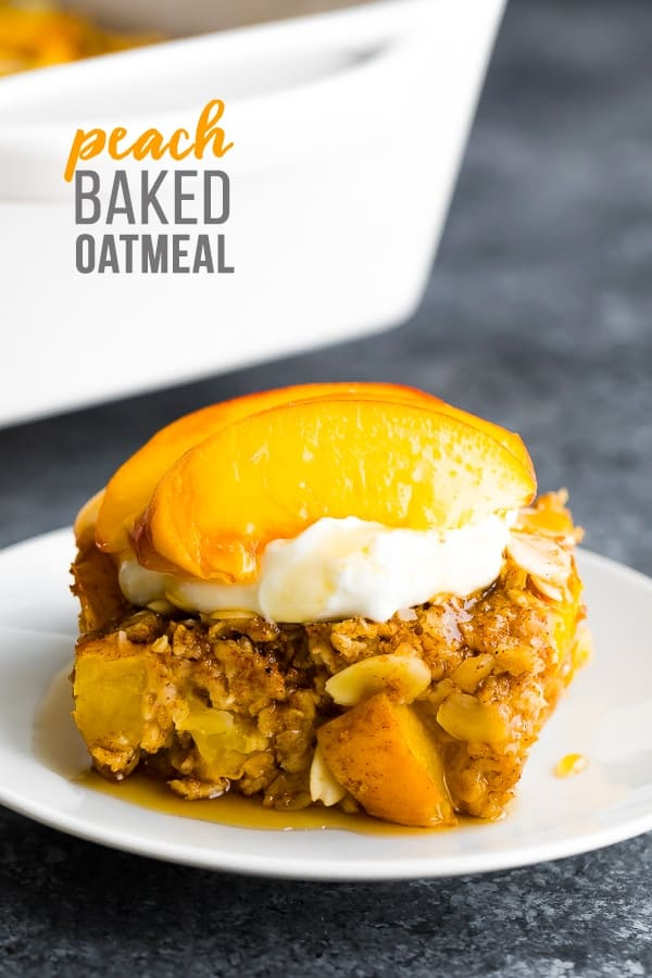 peach baked oatmeal recipe on plate