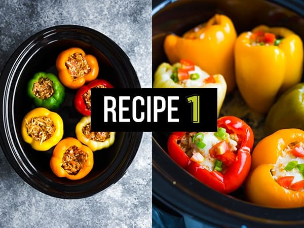 collage image of stuffed peppers in slow cooker