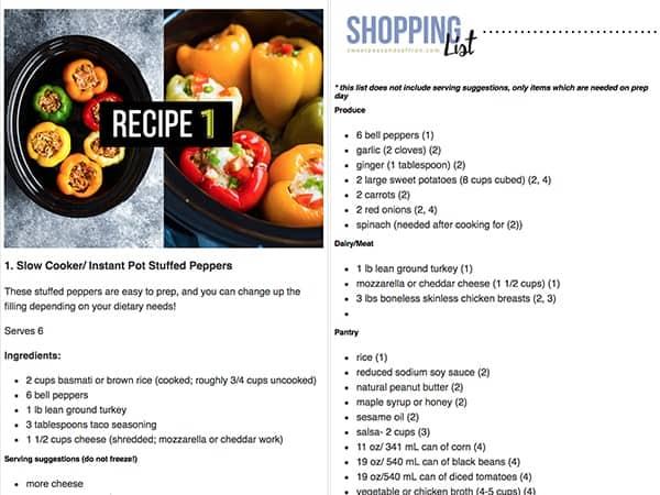 freezer meal ebook sample