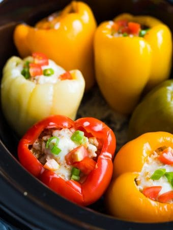 Crock Pot Stuffed Peppers Recipe (5 ingredients!)
