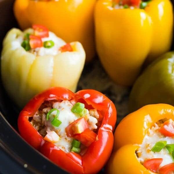 close up shot of stuffed peppers in crock pot