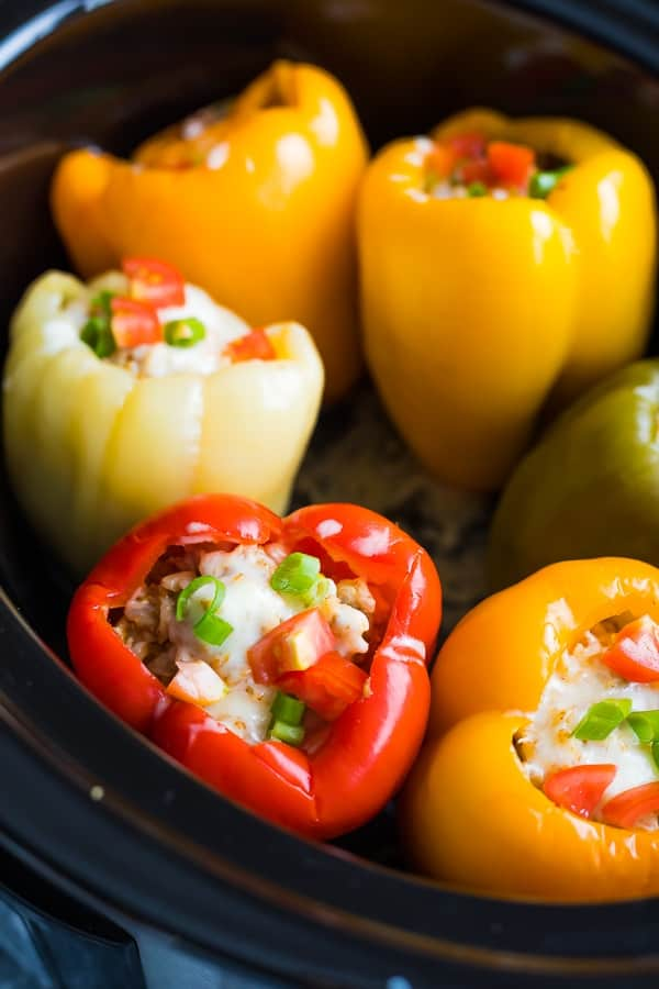 crock pot stuffed peppers in the slow cooker after cooking