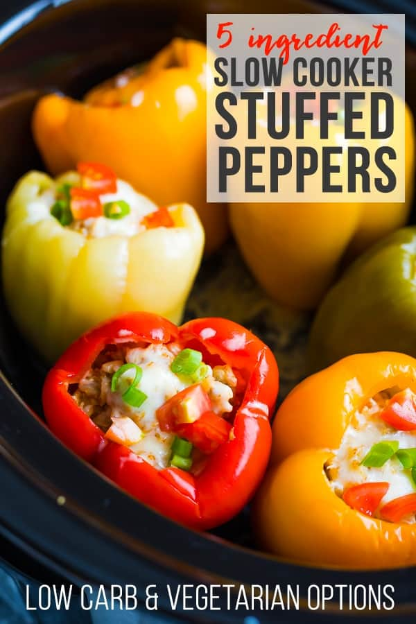 Crock pot stuffed peppers recipe with only five ingredients! You can prep this ground turkey stuffed peppers recipe with less than 15 minutes of effort...you can even freeze it ahead and thaw when ready to cook for a freezer crock pot meal. Low carb and vegetarian options included. #sweetpeasandsaffron #mealprep #freezer #lowcarb #vegetarian #slowcooker #crockpot