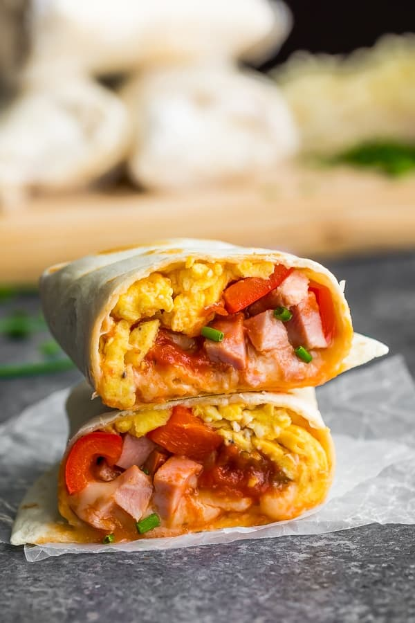 close up of the breakfast burrito recipe