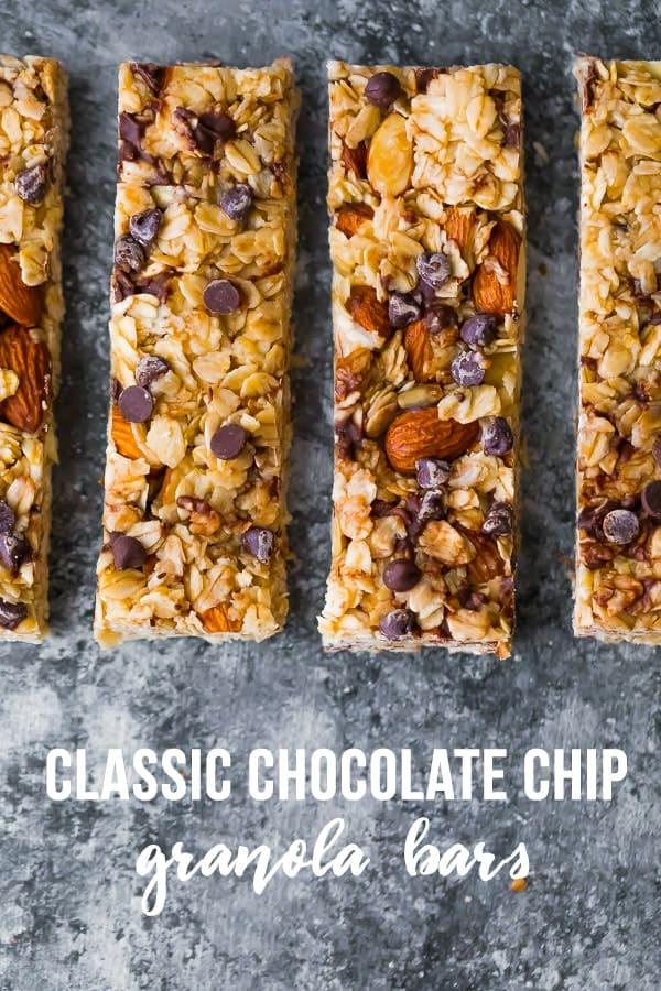 healthy granola bar recipe- classic chocolate chip granola bars overhead shot