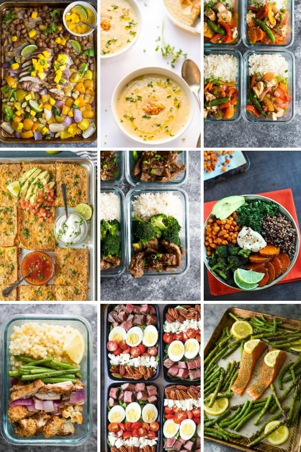 collage image with Healthy Dinner recipes you can Meal Prep