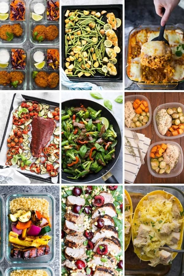 overhead shot of nine different freezer friendly meal prep lunch options
