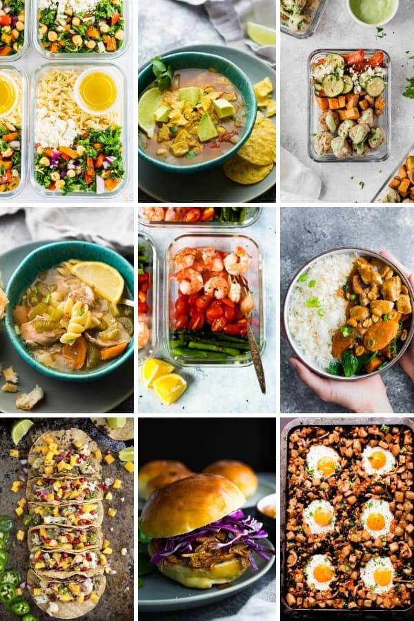 collage image with Healthy Dinner Ideas you can Meal Prep