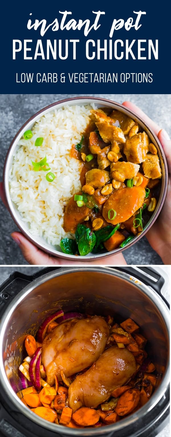This freezer Asian Peanut Chicken can be assembled ahead and stashed in the freezer until you're ready to cook it up in the slow cooker or Instant Pot! #sweetpeasandsaffron #mealprep #freezermeal #slowcooker #instantpot #lowcarb #vegan #vegetarian #glutenfree