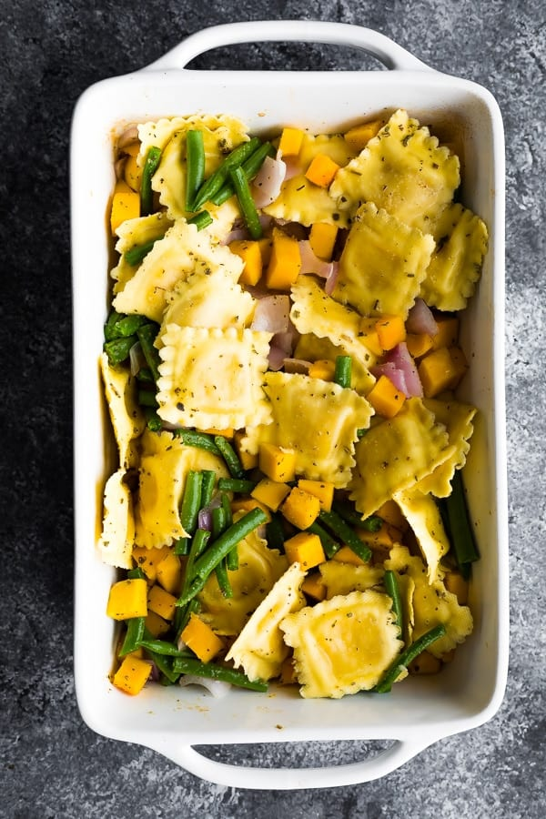 Baked Ravioli with Butternut Squash in casserole dish