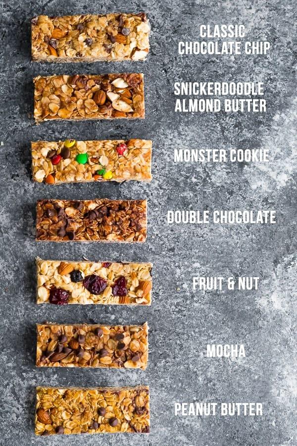 Tarif isimleri ile 7 ev yapımı granola bar