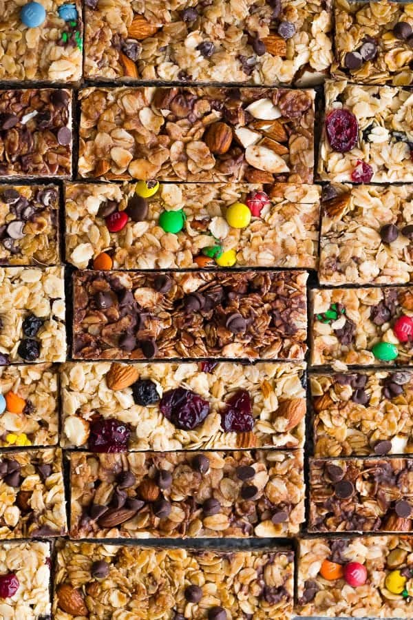 overhead shot of homemade granola bars with a variety of flavors