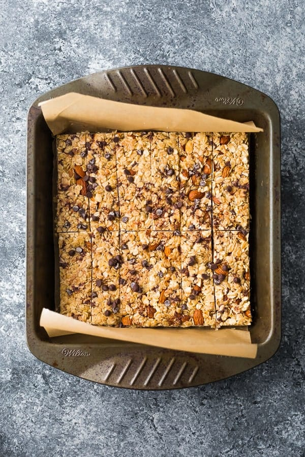 overhead view of the Snickerdoodle Almond Butter Granola Bars in a 9x9 inch pan