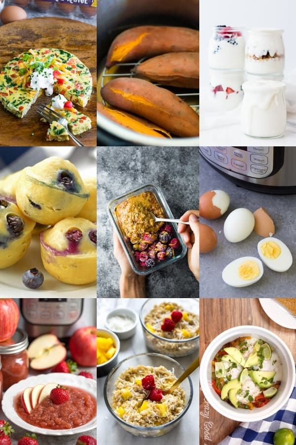 collage image of 36+ Healthy Instant Pot Recipes For Meal Prep- breakfasts