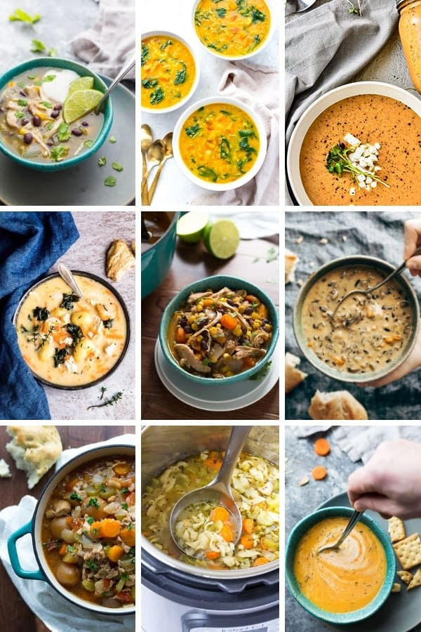 collage image of healthy Instant Pot soups and stews