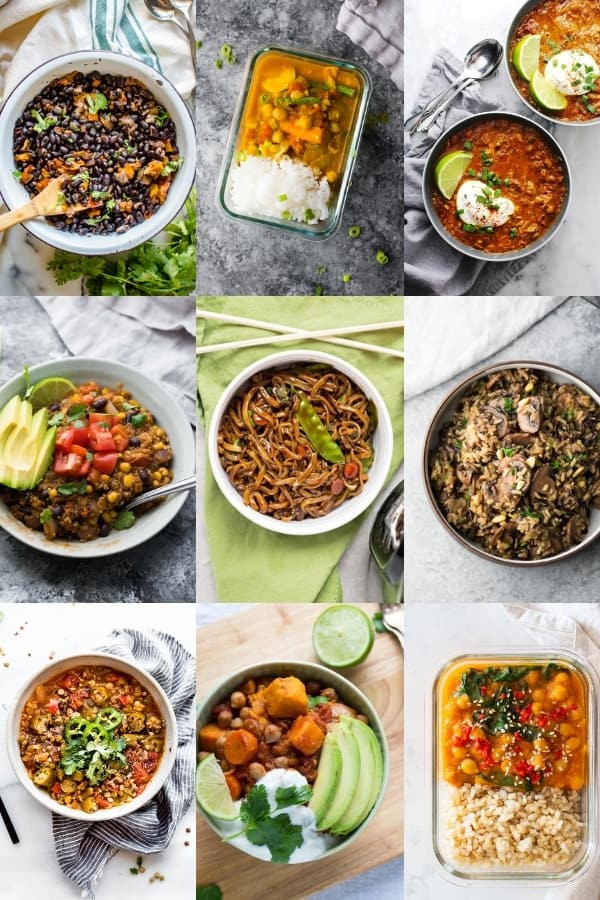 collage image of healthy Instant Pot Recipes for meal prep- vegetarian