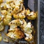 parmesan roasted cauliflower on tray
