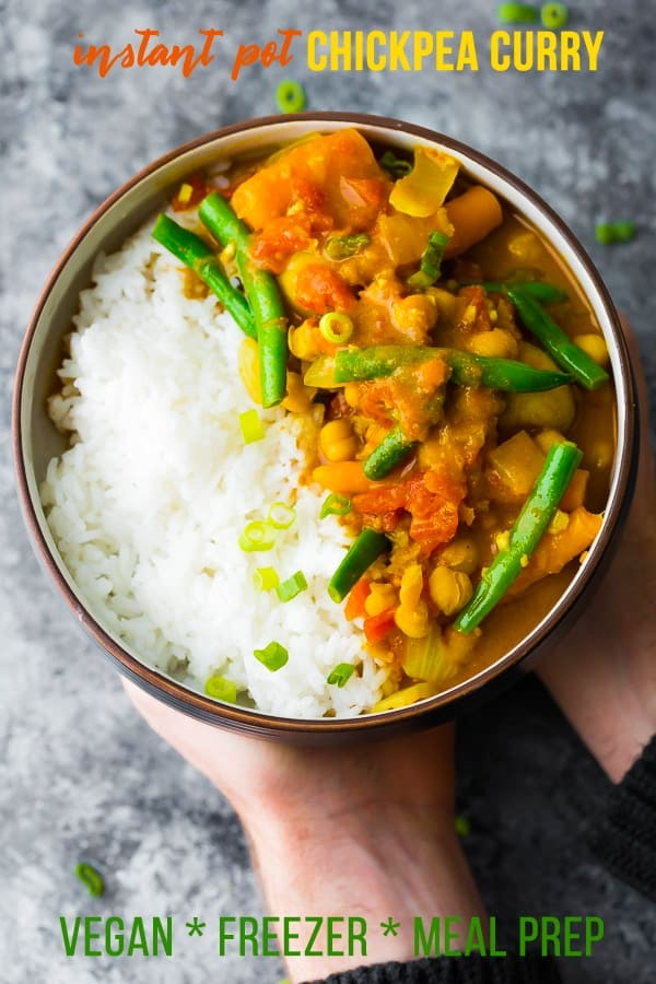 This Instant Pot vegan chickpea curry can be assembled ahead and frozen as a freezer Instant Pot meal, or frozen after cooking as a freezer-friendly meal prep lunch! Vegan, gluten-free, and so full of flavor. #sweetpeasandsaffron #mealprep #freezer #vegan #vegetarian #instantpot