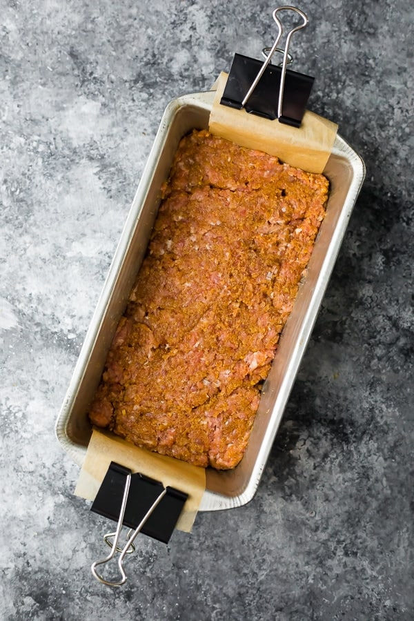 how to make turkey meatloaf- meatloaf mixture pressed into a loaf pan before baking