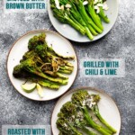 overhead shot of 3 ways to cook broccolini on white plates
