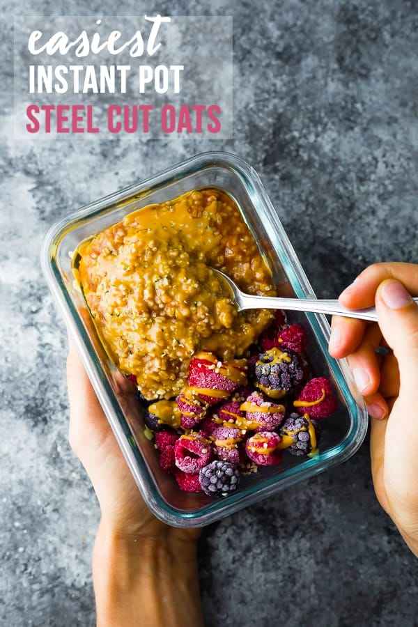 The absolute EASIEST Instant Pot Steel Cut Oats! Perfect steel cut oats every time, with only 5 minutes of effort required.