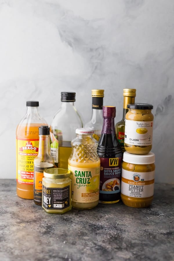 sauces, oils and vinegars for pantry staples
