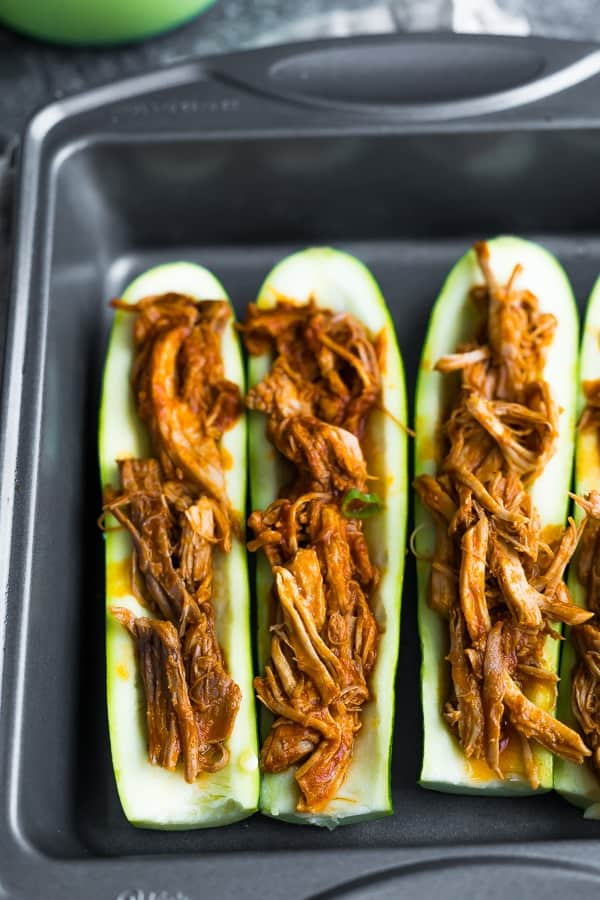 baking dish with pulled pork stuffed zucchini boat recipes