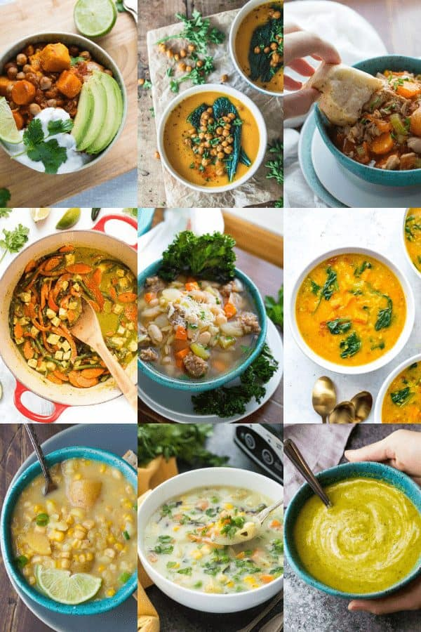 collage image with 9 easy soup recipes