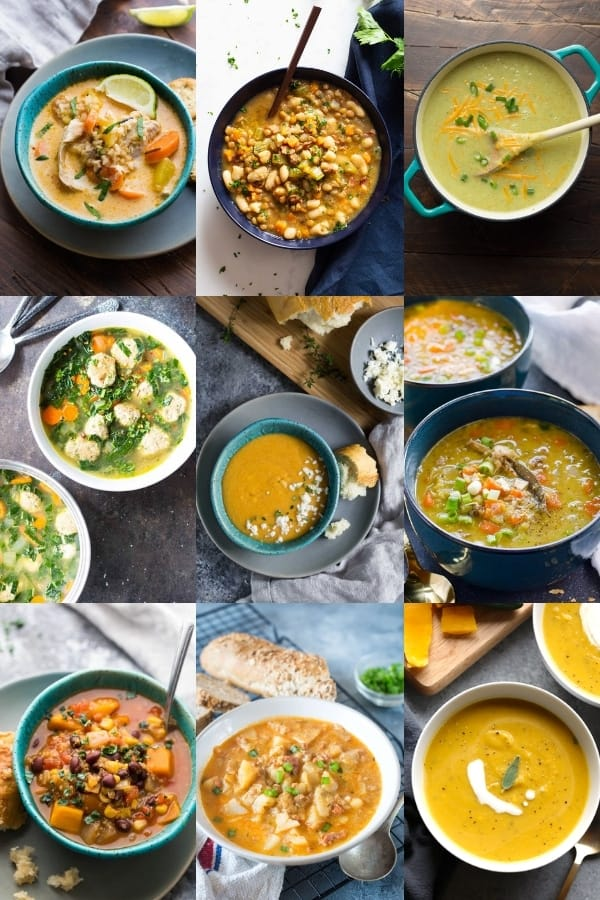 collage image with 9 soup recipes