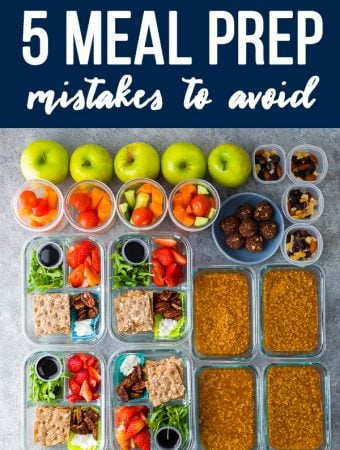 text saying 5 meal prep mistakes to avoid with a variety of foods on gray background
