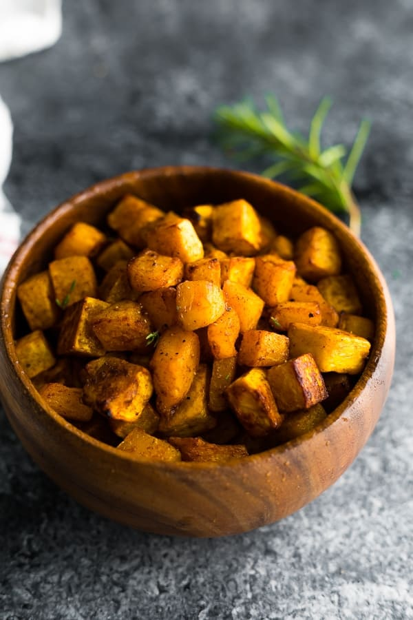 roasted butternut squash in brown bowl