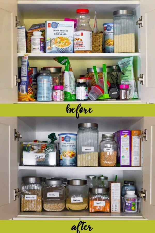 before and after shot of pantry after implementing pantry organizing ideas