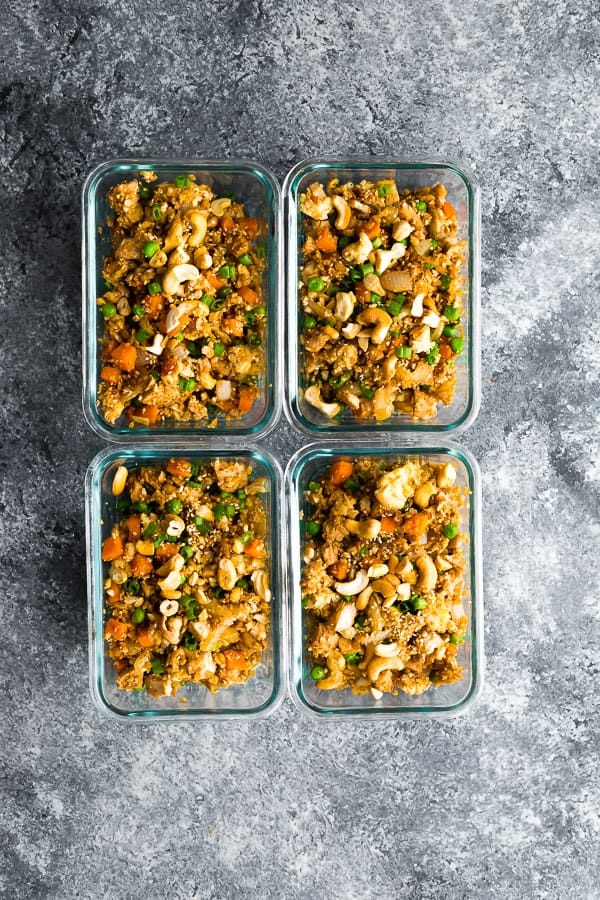 cauliflower fried rice in meal prep containers