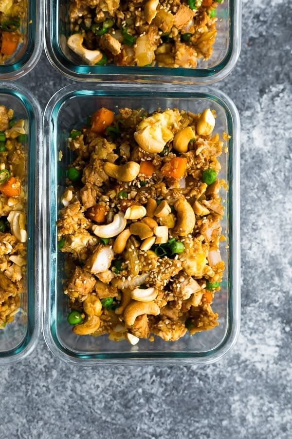 cauliflower fried rice keto friendly recipe in meal prep container